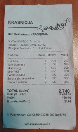 Tropoje, Albania: bill (3 people)