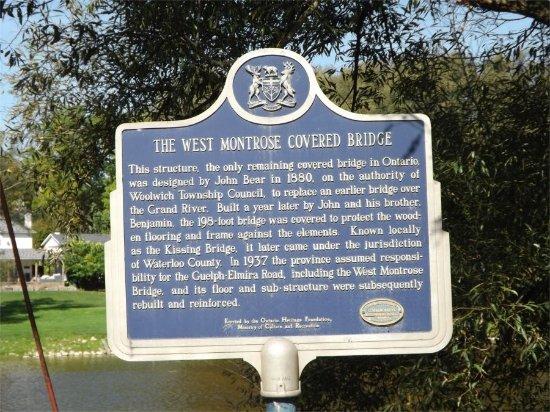 West Montrose Covered Bridge (Kissing Bridge): West Montrose Bridge sign