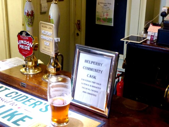 Helperby, UK: Own pub beer, plus London Pride  and Theakstons on offer