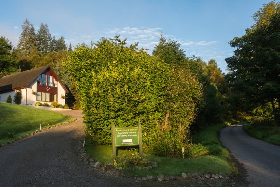 Invermoriston, UK: Lann Dearg Studios - Driveway with Great Glen Way to the right