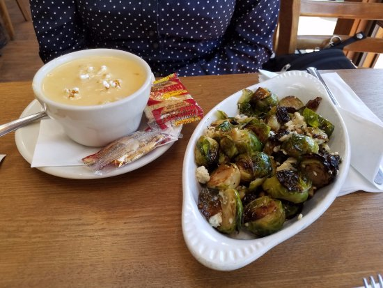 Hudson, Wisconsin: Beer cheese soup and brussels sprouts