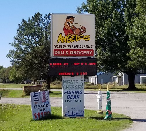 Columbus, KS: Sign in Front of Angelo's