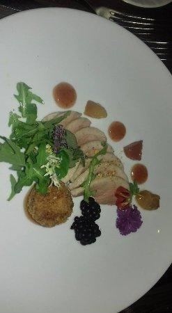 Abergavenny, UK: Salt duck with spiced plum sauce