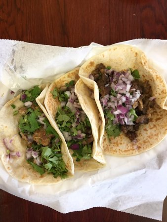 Forest Park, GA: Tacos - pork, beef tongue and steak.