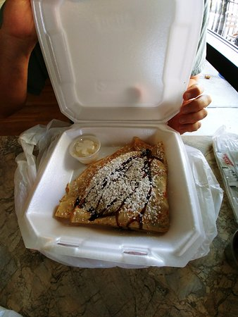 Crepe Creation Cafe: Classic Crepe w/ Strawberries, Chocolate Syrup and Whipped Cream