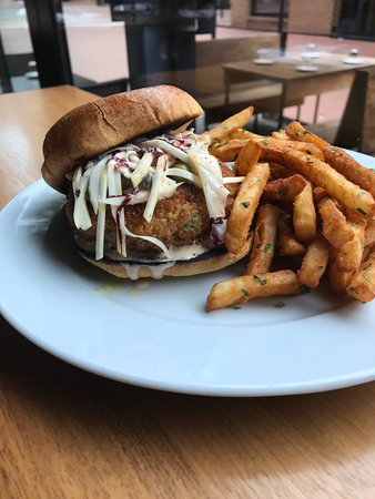 Commonwealth Restaurant & Skybar: This past weekend special - Salmon Burger with crispy battered fries for dinner.  Chicken and wa