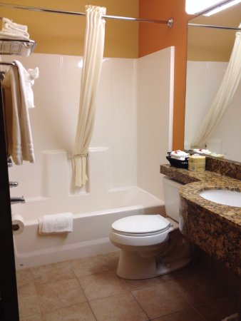 Microtel Inn & Suites by Wyndham South Bend / At Notre Dame: Clean bathroom with counter space.
