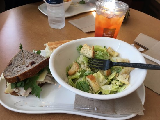 Decatur, GA: Waldorf Chicken Salad Panini, salad, grit cake in back and lemonade