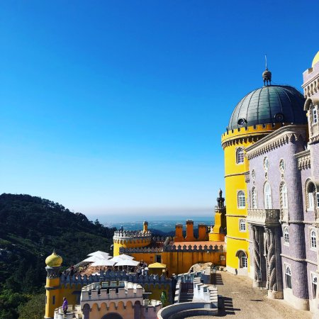 Pena Palace in Sintra - try to get their early and avoid the rush! Private transport is worth it