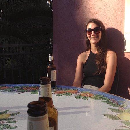 Hotel La Pensione Svizzera: Drinking at the table up near Via Luigi Pirandello