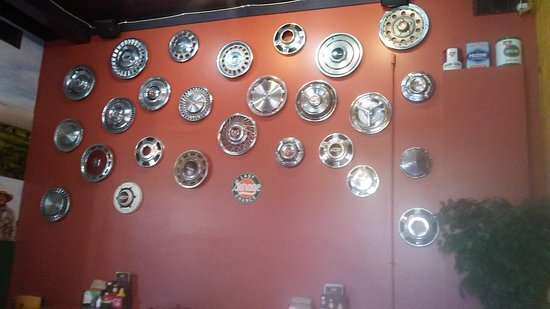Garage the Soup Shack & Mesquite Grill: Hub Cap wall