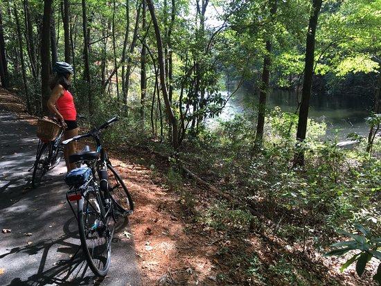 Biking trail here along hummingbird lake one of 13 lakes for Callaway gardens fishing