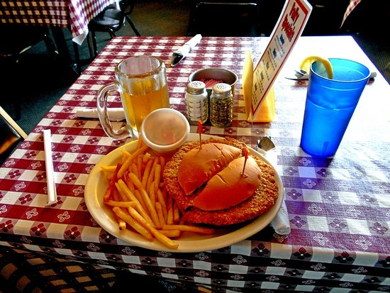 Dowagiac, MI: Pork tenderloin sandwich with fries and coleslaw