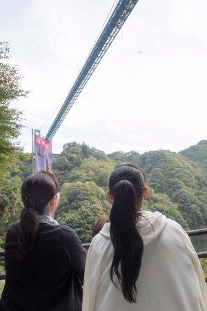 Hitachiota, Japón: ここで見ている目の高さほどまで落下してきます。