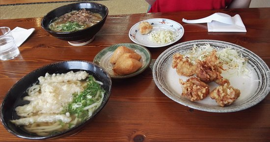 Miyaki-cho, Japan: Goboten Udon and Meat Udon - Inari (rice balls) - karaage (deep fried chicken)