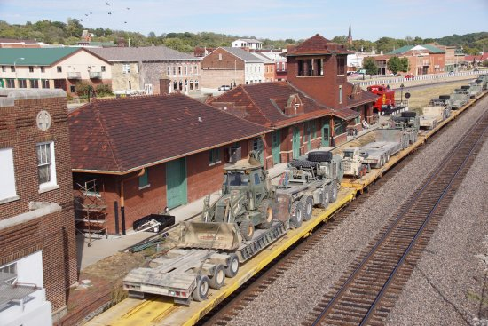 Fort Madison, IA: Military train passes the museum in the old station.