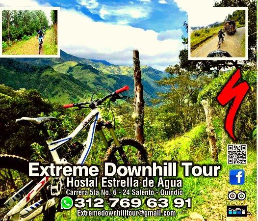 Mountain bike tours salento Quindío colombia Extreme Downhill Tour estrella de agua +57  3127696