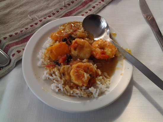 Melkbosstrand, Sydafrika: ....prawn-curry & rice