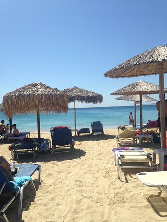 Agios Prokopios, Grekland: The beach is only a few yards from the hotel - turn right for peace and quiet, turn left for bus
