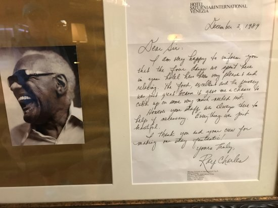 Hotel Saturnia & International: Testimonial from the Great Ray Charles