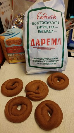These are the renowned moustokouloura - grape must cookies. Crunchy with clove and cinnammon.