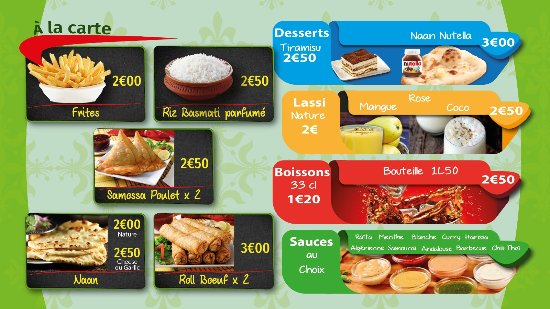 Corbeil-Essonnes, Francia: a la carte / desserts/lassi/boissons