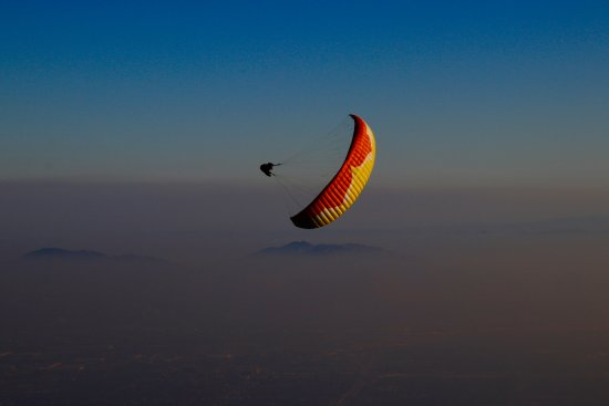 San Bernardino, CA: Flying at Crestline, California. Paragliding California.