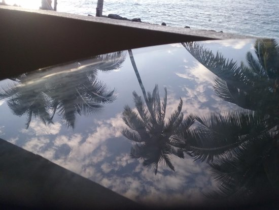 Garden Island Resort: Reflection off patio table glass.