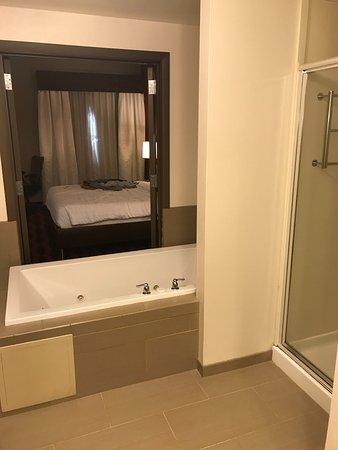 Preston, CT: Shower and whirlpool, toilet behind the camera, hidden around a corner.