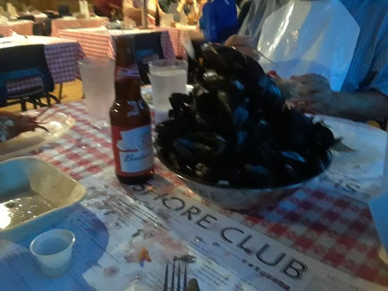 Hubbards, Canada: The mussel shell pyramid! Mussels were so good!!