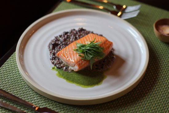 ‪‪Bodega‬, كاليفورنيا: Pan seared Half Moon Bay Salmon on wild rice risotto with wild basil pesto sauce‬