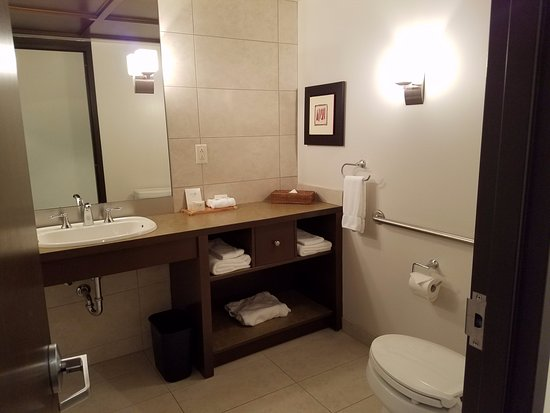 Boucherville, แคนาดา: New and clean, but the double leaf door was loud, and toilet can be viewed from the bed