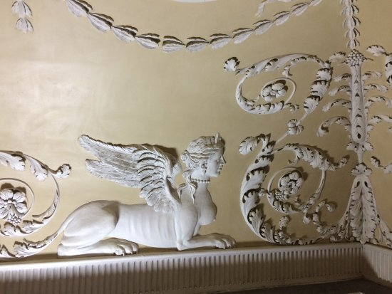 Saltram (National Trust): Plasterwork detail of a sphinx from the newly cleaned ceiling