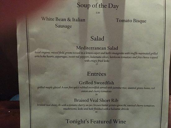 Harrison's Restaurant & Bar: Special Menu