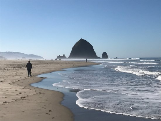 walking the beach all the way to haystack rock foto de cannon