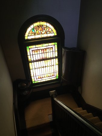 Percy Grainger Home: The front of the house; a music machine; stained glass window; sheet music files; one of Grainge