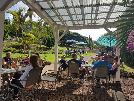 Kula, HI: Tour Group having brunch at the Gardens Cafe'