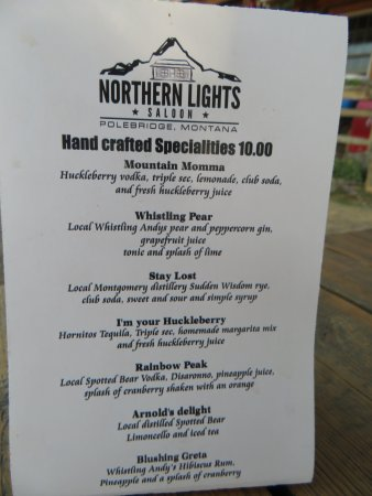 Northern Lights Saloon and Cafe: Drink Menu