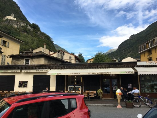 It's right next to the church in Tirano.