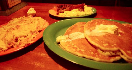 Pocatello, ID: Cake-N-Stuff: pancakes, bacon, eggs and a side of hash browns.