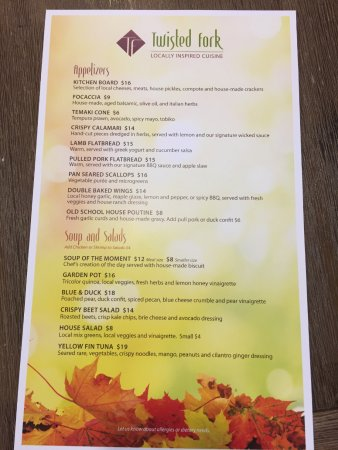 St. Paul, Canadá: Our Fall Menu