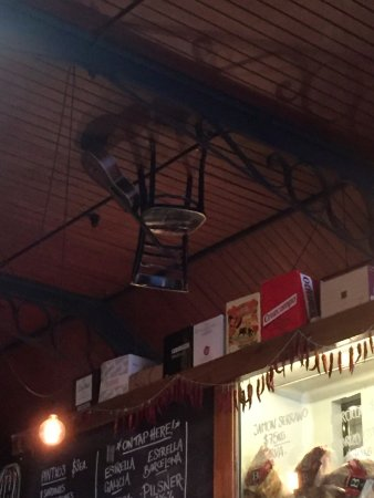 Upside Down Chair And Guitar Hanging From The Ceiling Picture Of Meigas Ballarat Tripadvisor