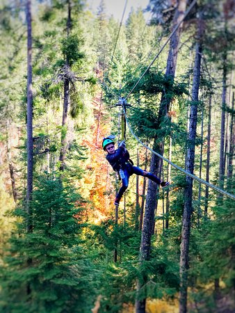 Leavenworth, WA: His first time zip lining, he couldn't get enough!