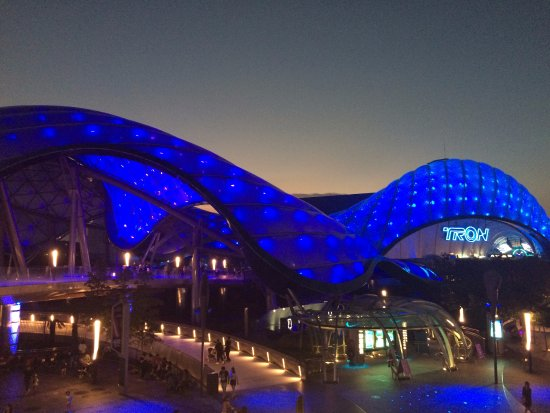 Shanghai, China: View of entrance to the ride Tron by night