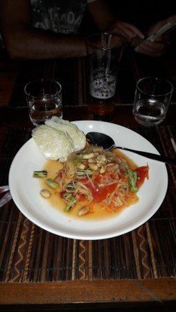 Don Khone, Laos: Salade de papaye