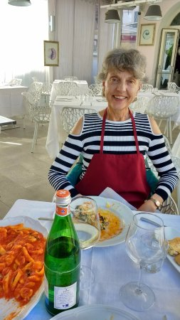 Cooking Class al Ristorante Nettuno da Siciliano : My wife with her fish Secundo