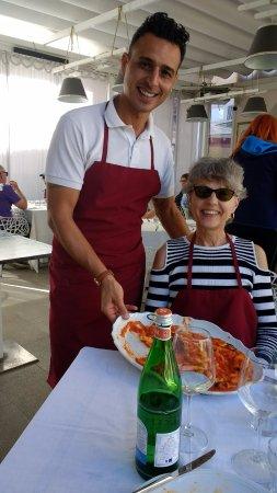 Cooking Class al Ristorante Nettuno da Siciliano : Mimmo, my wife, and the pasta left-overs