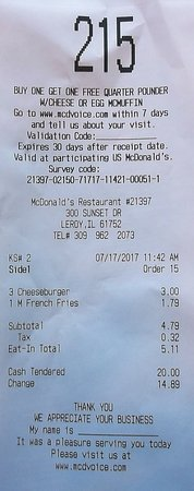 Le Roy, IL: $5.11 avec taxe !