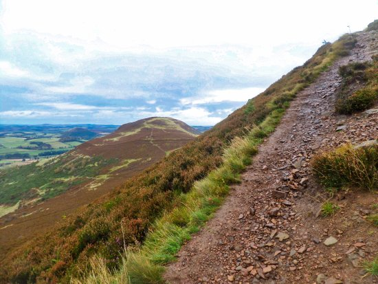 Melrose, UK: Nearing the top on the middle peak on the Eildon Hills