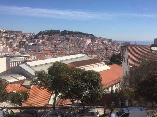 Miradouro São Pedro de Alcântara : Vue panoramique de Lisbonne du jardin Miradouro